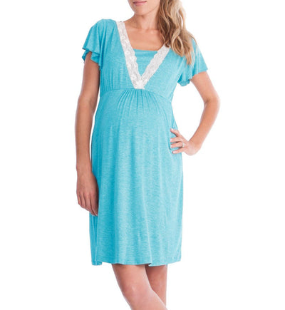 BONJEAN Pregnancy&maternity Pajamas Sleepwear Nursing Pregnant Pajamas Breastfeeding Nightgown Elegant Maternity Nursing Dress