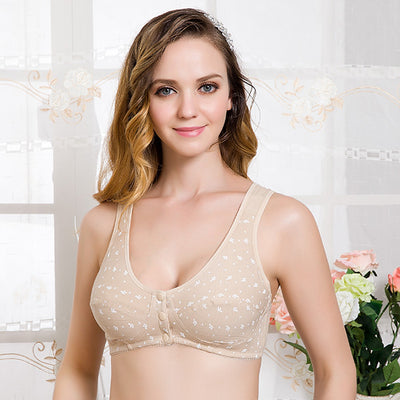 2018 Cotton Wire Free Maternity Bra Tops Breastfeeding Front 3 Buttons Comt Pregnant Feeding Nursing Bras New