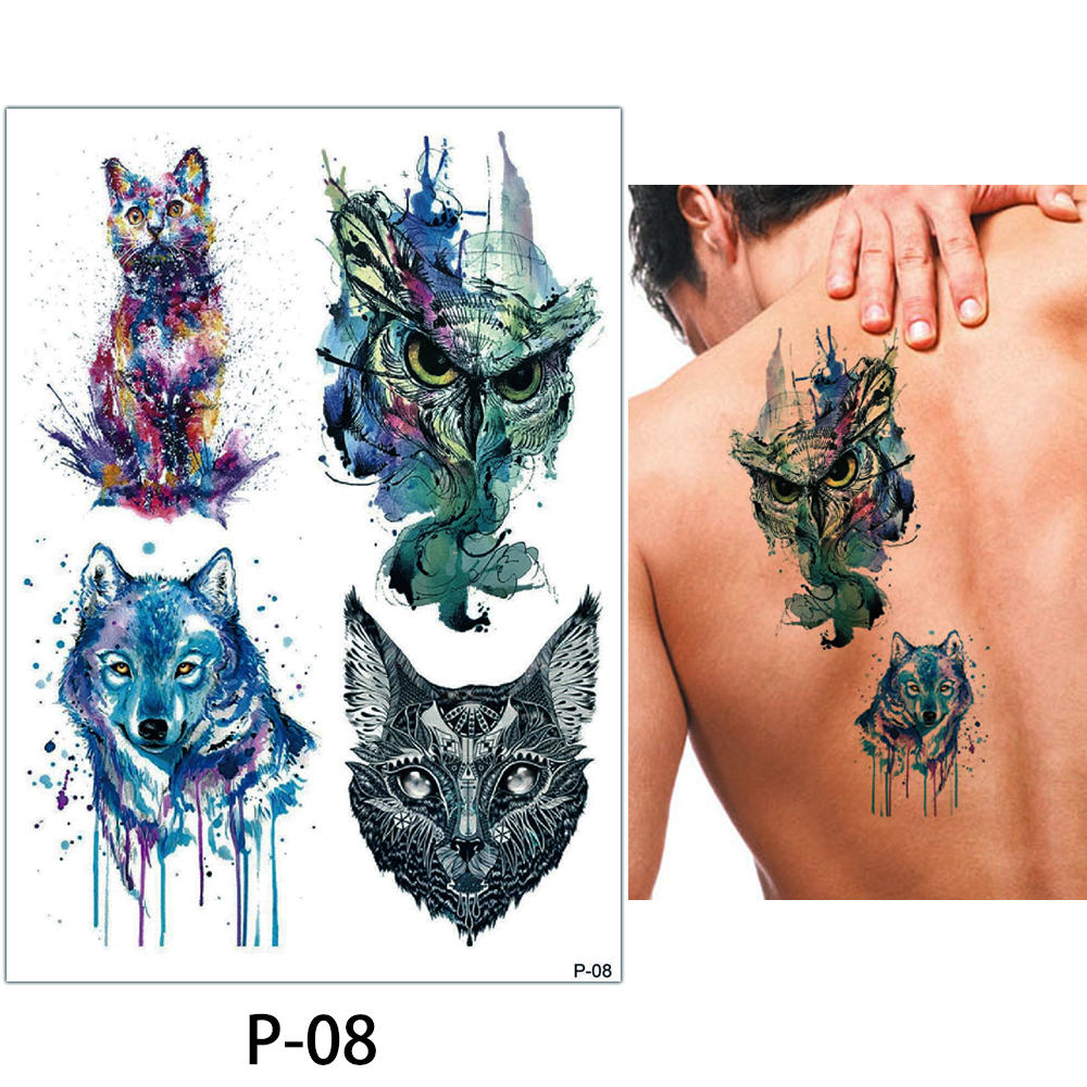 9337b5e49 1x DIY Body Art Temporary Tattoo Colorful Animals Watercolor Painting  Drawing Horse Butterfly Decal Waterproof Tattoos