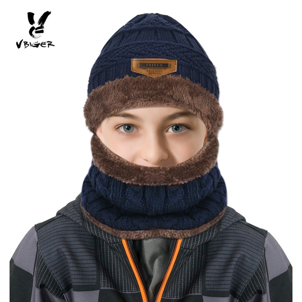 90856dc3458 VBIGER 2pcs Kids Scarf Set Winter Warm Knitted Hat Cap Skullies Beanies  Circle Scarf with Thicken