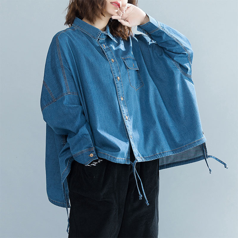Fall and Winter 2018 New Cloak Jeans Bat Sleeve Korean Literary Shirt Short Jacket IF8005