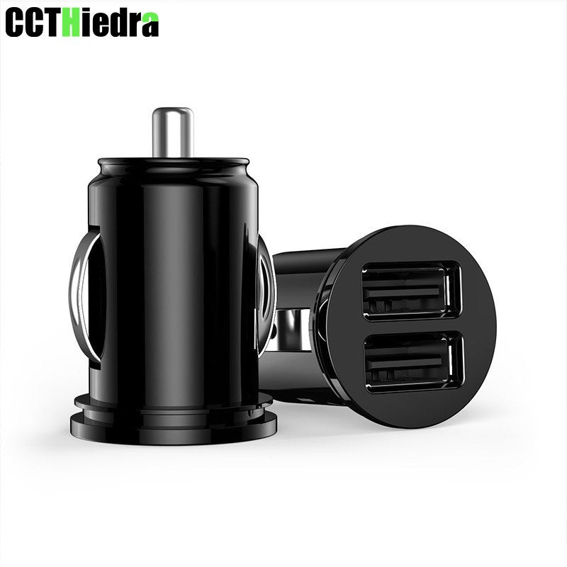 Black Mini USB Car Charger For Most Mobile Phone Tablet GPS 2.4A Charger Car-Charger Dual USB Car Phone Charger Adapter in Car