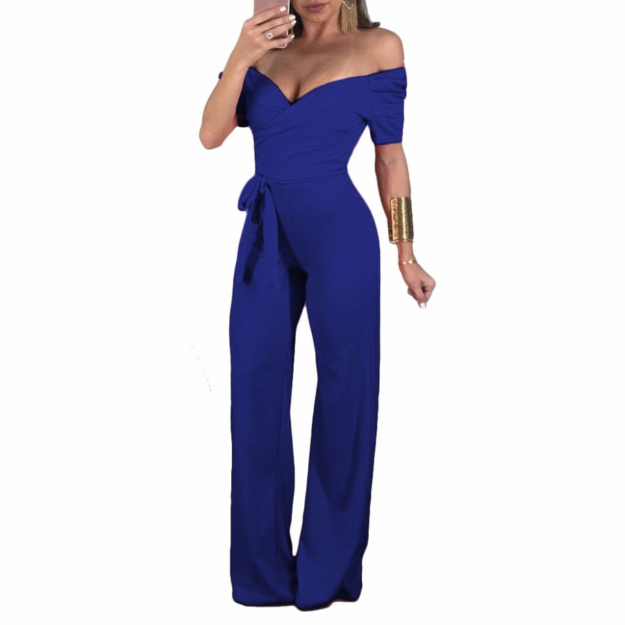 6405d09a5ad Off the Shoulder Summer Womens Jumpsuits Sexy Long Pant Fitness Romper  Night Femme Club Deep V