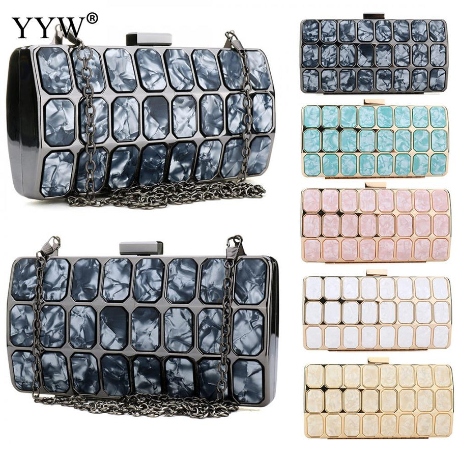 Patchwork Clutch Bags for Women 2018 Zinc Alloy Evenning Bag Luxury Handbags Women Bags Designer Moto Style Party Shoulder Bag