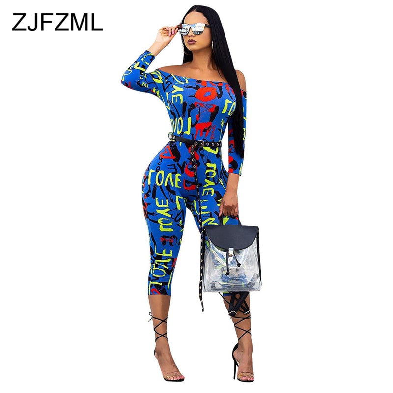 68752bf6bb Colorful Letter Printed Sexy Bodycon Jumpsuit For Women Slash Neck Off The  Shoulder Party Catsuit Streetwear