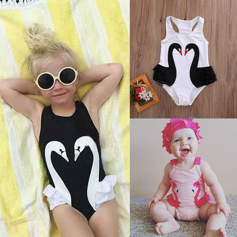 2018 Brand New Toddler Infant Baby Kids Girl Tutu Swimsuit Swimwear Ruffle Bikini Skirt Bathing Suit Children Swan Swimwear 2-7T