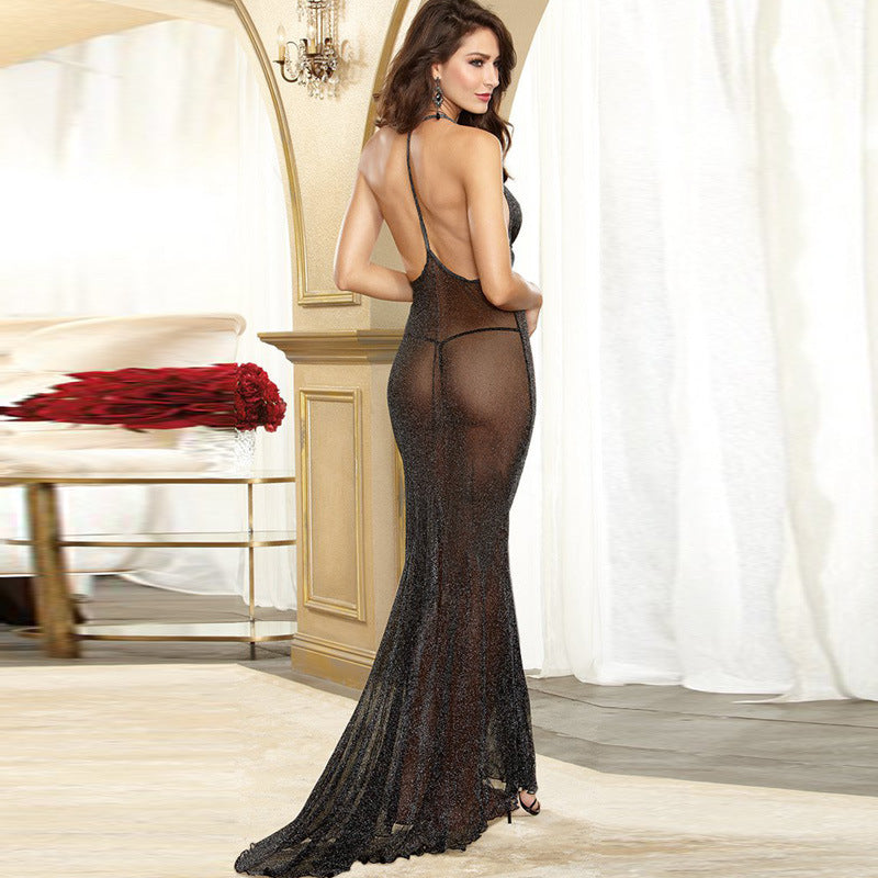 Sexy Fashion Black Lace Mesh Perspective Long Party Dress Deep V-Neck Sleeveless Slim See through Floor Length Dress 11128