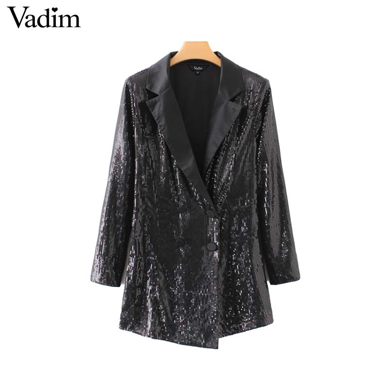 d53a38bc334ed9 Vadim women chic sequined black playsuits notched collar long sleeve  buttons rompers solid female casual wear