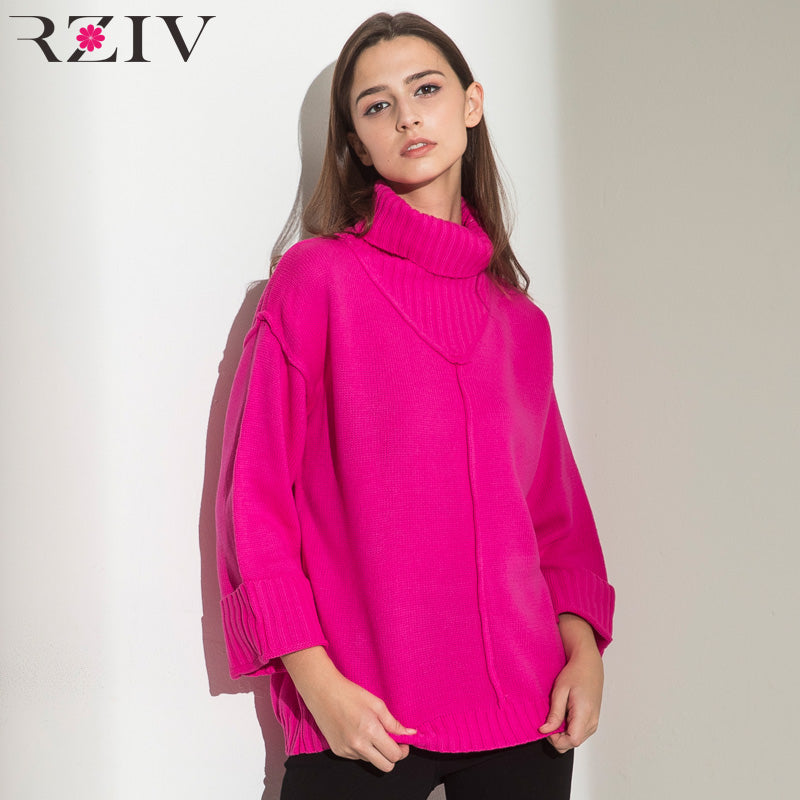 RZIV oversize sweater women long turtleneck sweater winter clothes and knitted women sweaters and pullovers