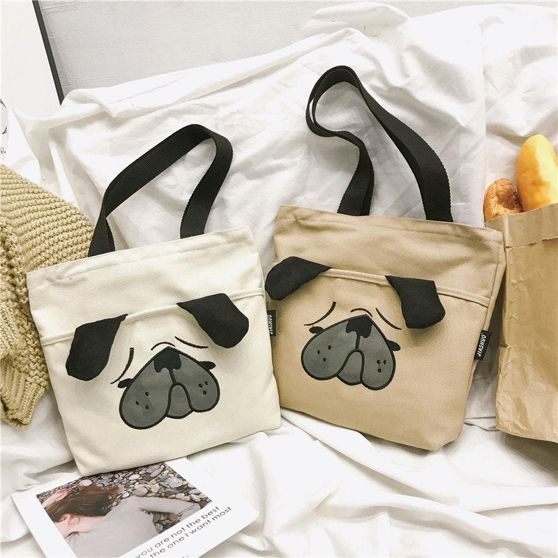 Rdywbu 3D Animal Dog Printing Canvas Tote Handbag Women's Creative Big Shopping Bag Casual Funny Beach Shoulder Bag Bolsas B695