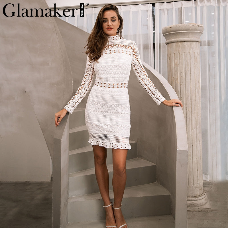 fa5db36d4afcc Glamaker Sexy hollow out white lace dress Women elegant ruffle black mini  dress vestidos Autumn female