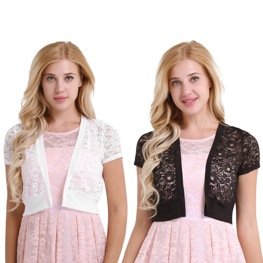 Womens Short Sleeve Hollow Out Floral Lace Shrug Open Front Loose Fit Cardigan Top Outerwear Short Jackets for 2018 Formal Party