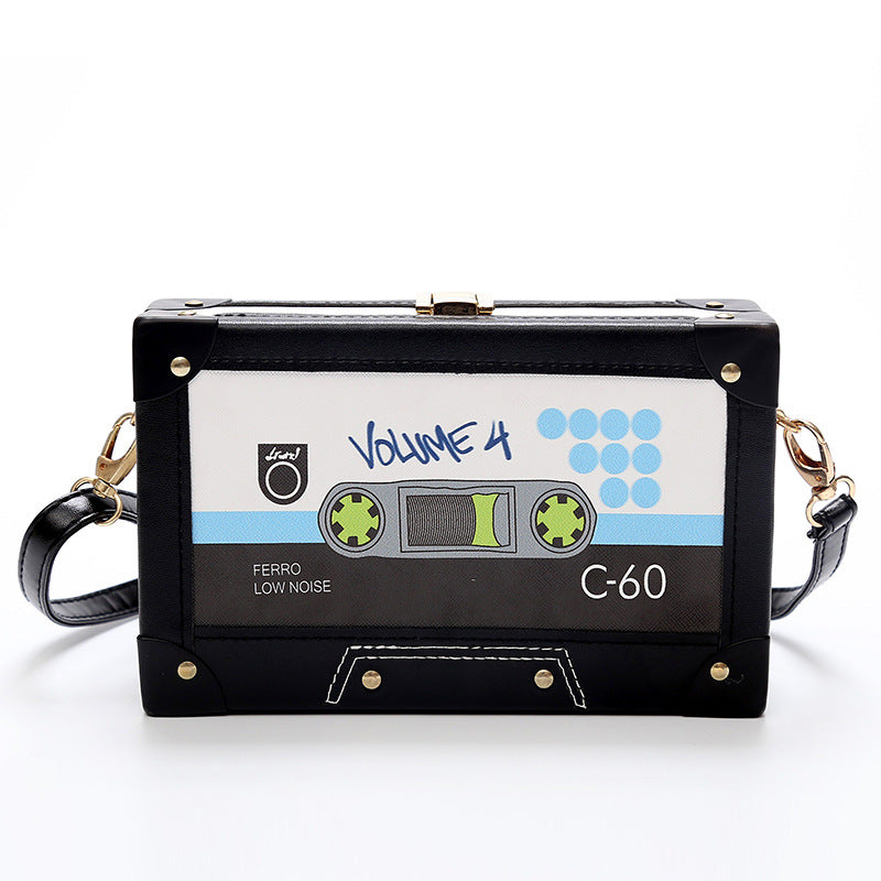 Personality  tape cassettes evening clutch bag women hard box clutch high-end hand bag small party purse shoulder bag