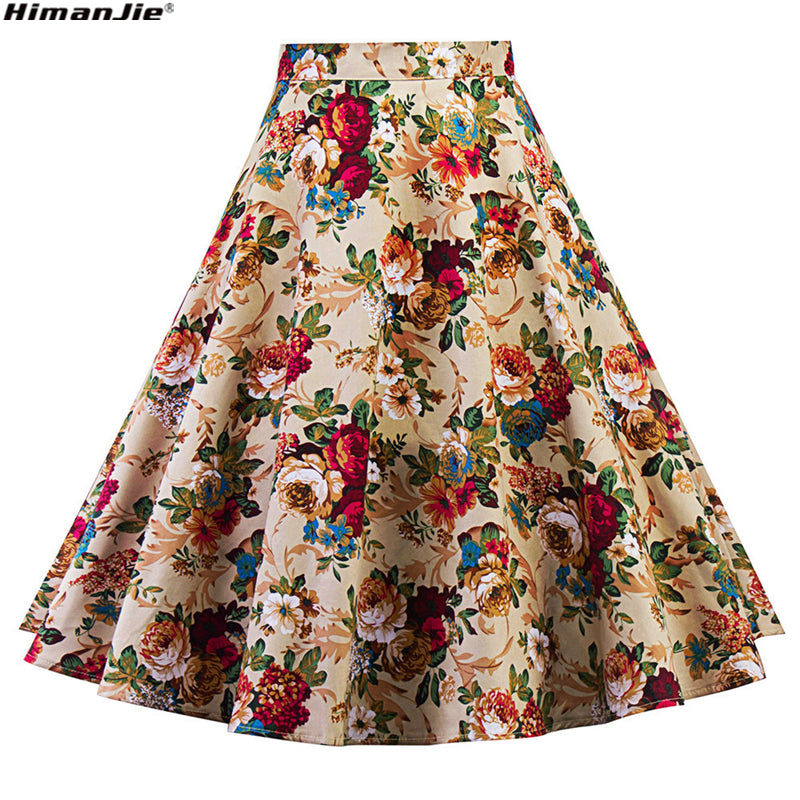 5183a1f2a5 HimanJie Summer Women Midi Pleated Skirts 2017 Vintage 50s 60s Flower  Printed Ball Gown High Waist