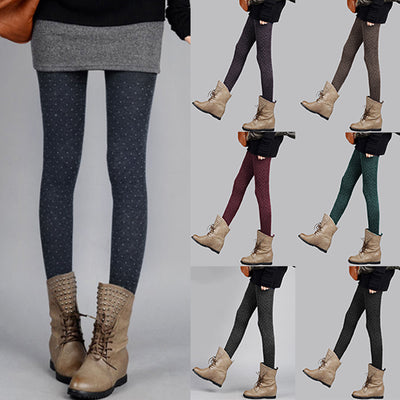 f2f81695ae7 7 Colors Women Cashmere Dot Tights Thick Warm Soft Knitted Pantyhose Autumn  Winter Girl Sexy Super