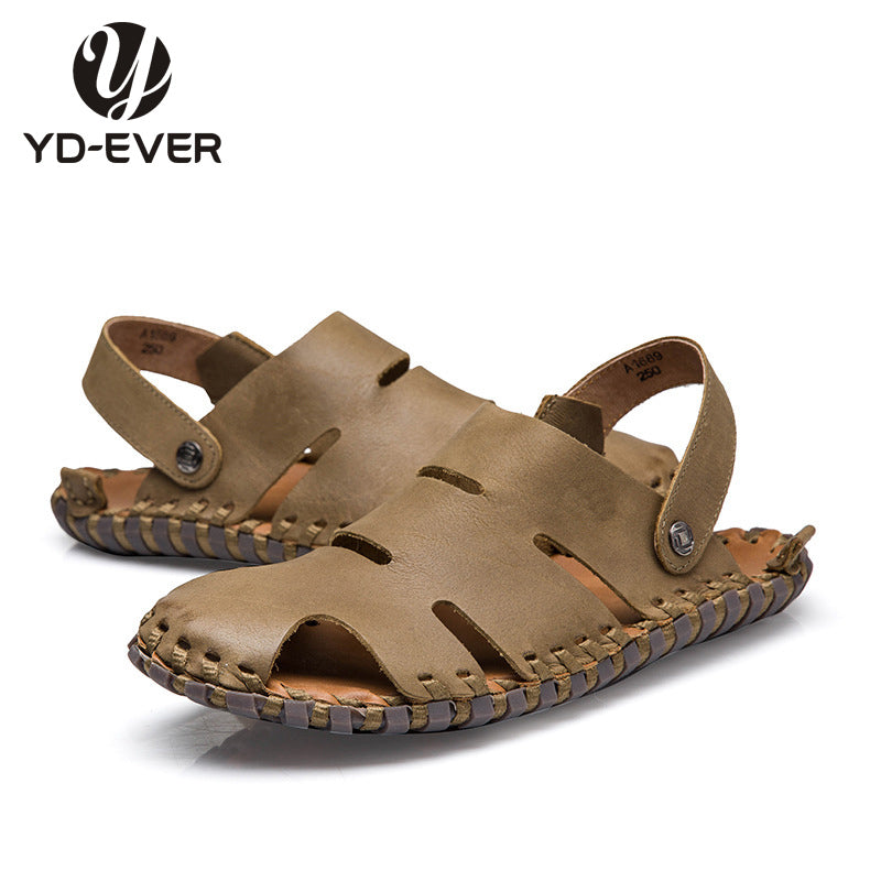 100% GENUINE LEATHER MEN SANDALS-Summer fashion brand beach slippers Men's flip flops casual moccasin Loafers plus size sandals