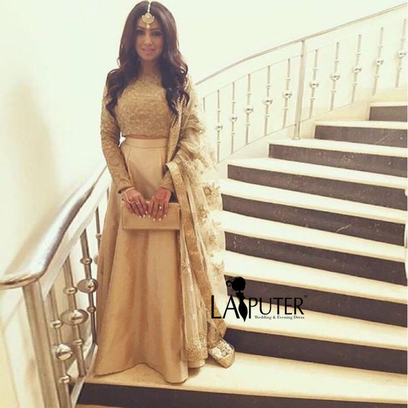 Indian Saree Long Sleeve Two Pieces Prom Dress Lace Evening Dresses 2017  Custom Made Women Party a9870aac1b2b