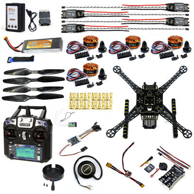 JMT S600 4-Axis Rack Quadcopter Frame Kit with Landing Gear Skid PX4 PIX  2 4 8 32 Bit Flight Controller AT9S FS-i6 Transmitter