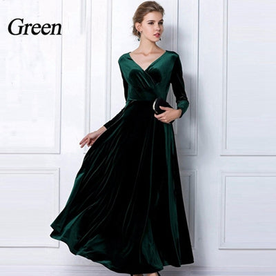 4bfef04b2 TingYiLi Winter Women Plus Size Velvet Dress Long Sleeve Maxi Dress Evening  Party Vintage Dress Black