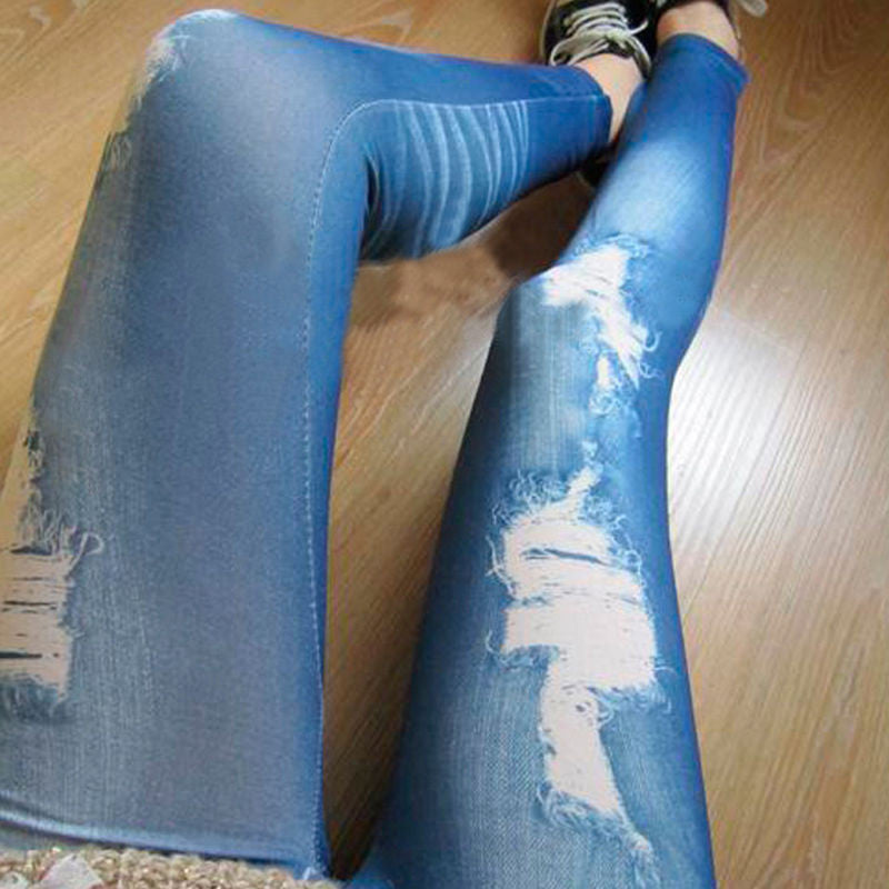 Women Jeans Fashion Trendy Stylish Retro Punk Pants Women Girls Slim Flange Hole Wash Pencil Pants Denim Ripped Leggings