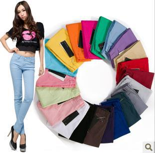 Hot 2018 fashion sale!! Jeans Pants candy colored pencil pants skinny pants legging long trousers boot cut