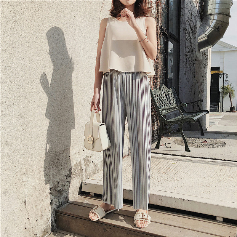 Aikoar Women Spring New Style Pleated Pants Loose High Waist Chiffon Pants Causal Preppy Style Wide Leg Pants Female