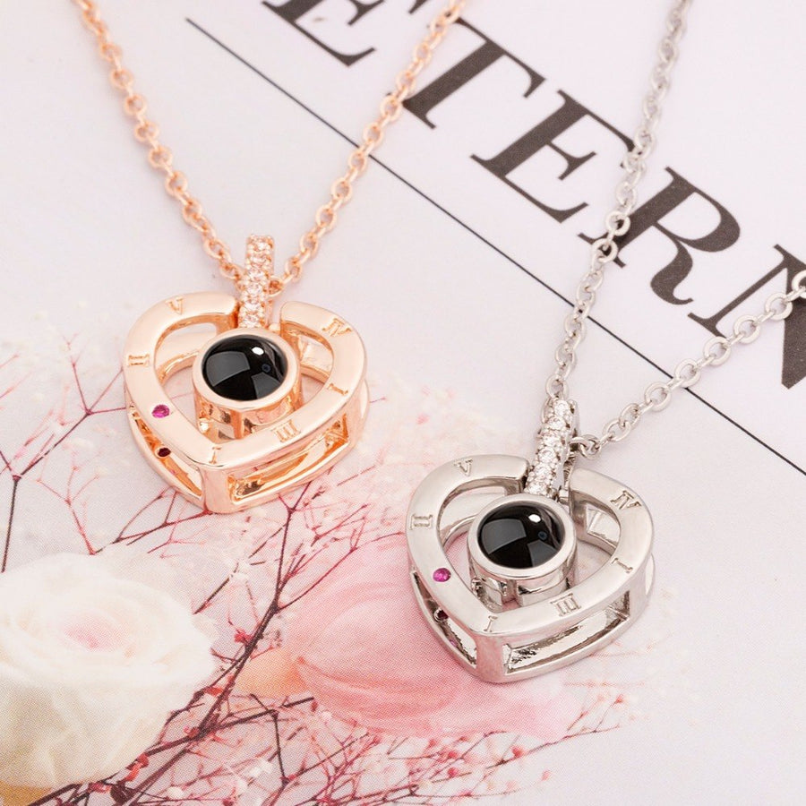 I Love You 100 Languages Necklace Loving Memory Women Projection Necklaces Pendant Romantic Necklace for Wedding Ladies Gifts