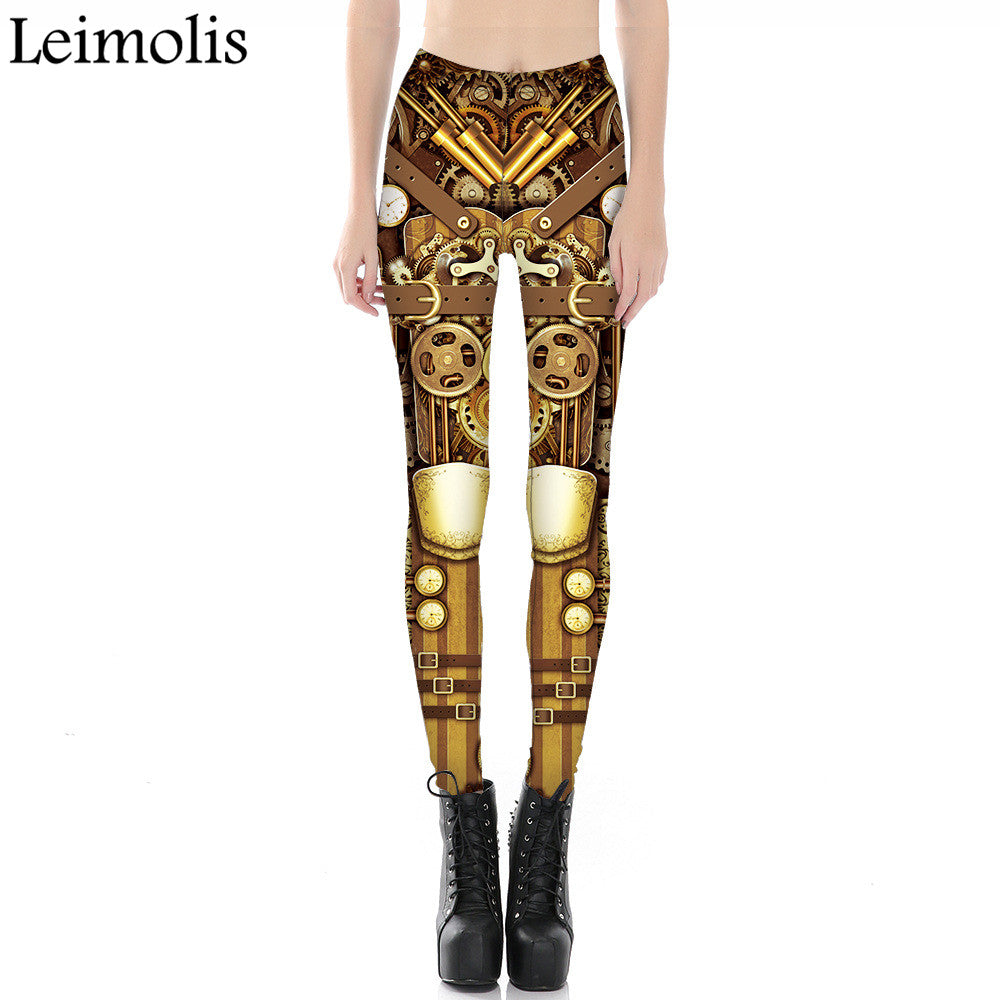 6a1781a494beb Leimolis 3D printed fitness push up workout leggings women gothic steampunk  gear armor plus size High