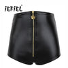 iEFiEL Black Women Shiny Stretchy Patent Leather High-waisted Front Zipper Performance Hot Shorts Clubwear Clothing