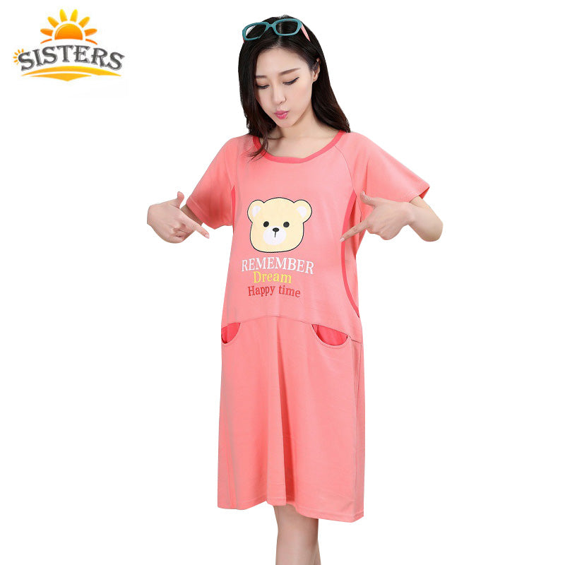 New Fashion Women Nightgown for Pregnant Women Ice Silk Summer ...