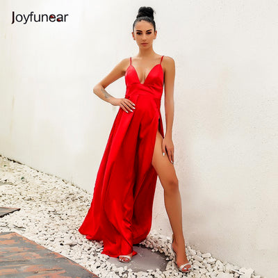80315600bb85 Joyfunear 2017 autumn winter dress high split red maxi dress women solid  sexy Chistamas evening party
