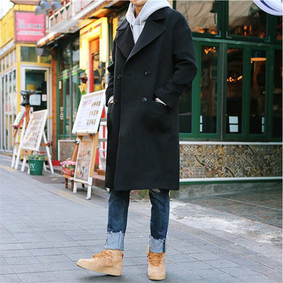36e2cb4f441 2017 New Men Autumn Winter Trench Coat Men Casual Jacket Pluse Size Loose  Fashion Brand Clothing