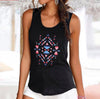 Women Weekend Casual Vest Summer Sleeveles Round Neck Geometric Printed Slim Fit Tank Top Beach Tops #L