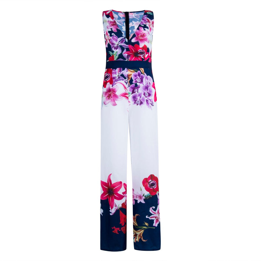 aa0281b87705 2018 NEW Women Playsuit Sexy V-neck Floral Jumpsuit Sexy Lady Clubwear  Flower Summer Playsuit