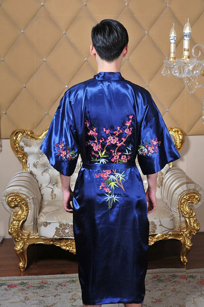 eef03a5db4 Hot Sale Navy Blue Spring Chinese Men s Silk Satin Robe Embroidery Kimono  Bath Gown Hombres Pijama