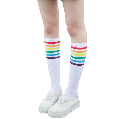 1Pair Thigh Women's Rainbow Striped Stockings Fall Cute Women Students Girls Colorful Stripes Black White Cotton Knee Socks