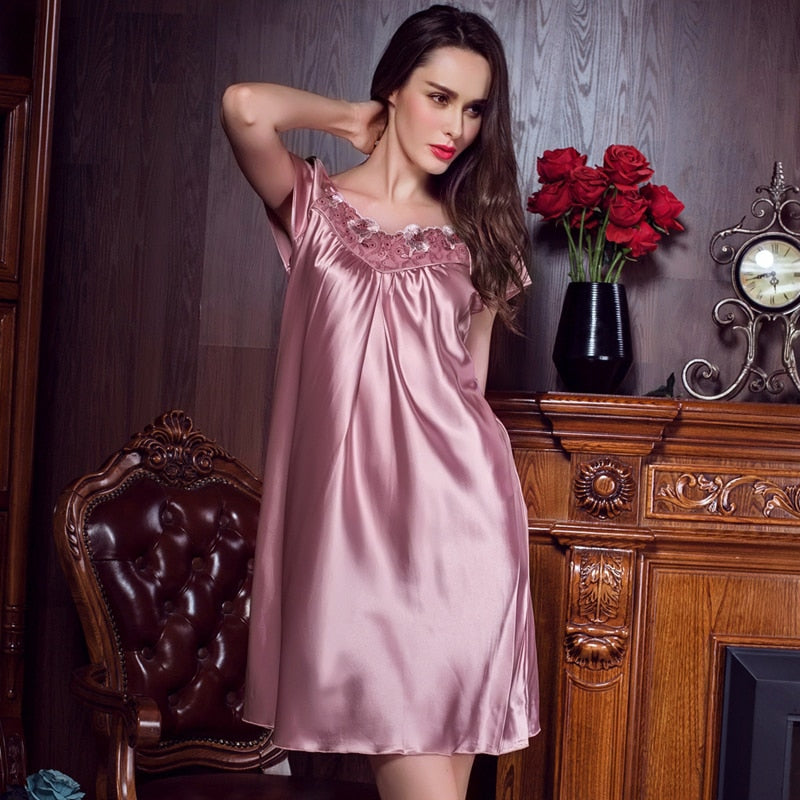 Floral Pink Woman Nightgowns Silk Sexy Hot Appliques Solid Thin Cool Loose Female Summer Home Wear Night Dress Sleepshirts 2018