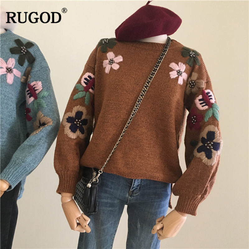 ef208430e6 Rugod new Women Sweater and Pullovers flower embroidery 2018 autumn winter  Knitted sweater o-neck