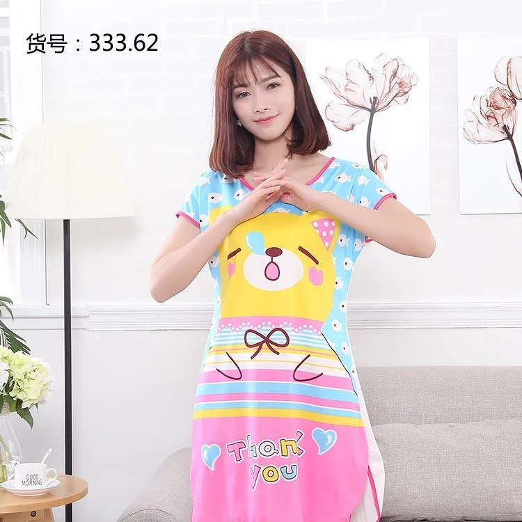 2018 Hot Summer Women Nightgowns Sleeve Short-sleeve Dress Cute Girls Sleepwear Cartoon Bear Printed Sleepwear
