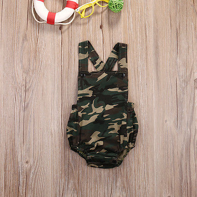 0-18 m Newborn Kids Baby Girl Boys Kids Clothing Army Green Romper Sleeveless Fashion Playsuit Clothes Bebes Outfits - upcube