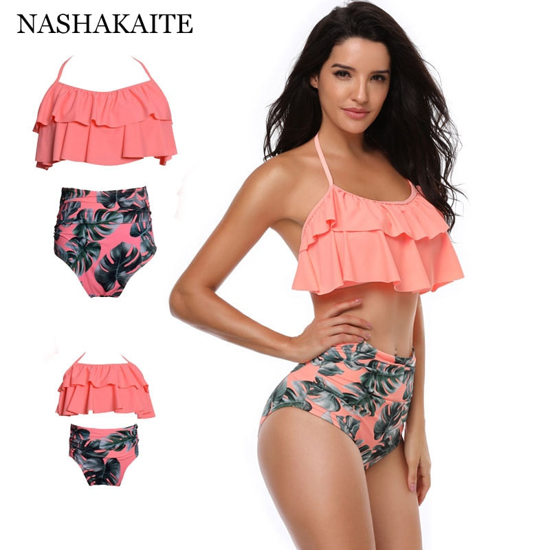 NASHAKAITE Mommy and me swimsuit Leaf Print Ruffled Mother and daughter swimsuits biquini mae e filha swimsuit mom and daughter