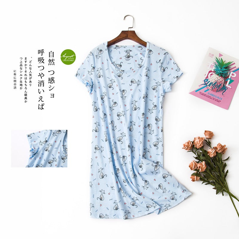 Cute cartoon sexy women nightdress summer short sleeve 100% cotton sleepwear pyjamas women nightgowns Plus size 90kg