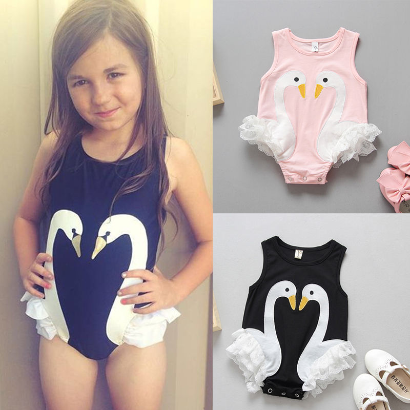 050fcc2ad6d5 Toddler Baby Kids Girls Flamingo Feathers Swan Romper Jumpsuit Playsuit  Outfits Newborn Girl Summer Rompers Sunsuits