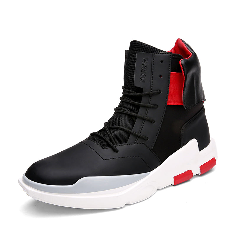 2f3ef3a30b799 New Fashion High Top Casual Shoes For Men PU Leather Lace Up Red White  Black Color