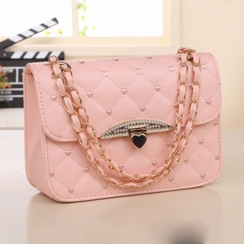2018 New Women's Bag Pu Leather Shoulder Bag Korean Version Of The Stereotype Chain Messenger Bag Small Square Bag