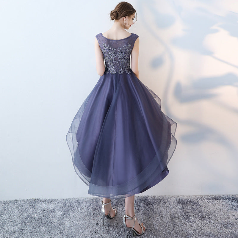 ad1836c2e1082 It's YiiYa Sex Lace Floral Illusion High-low Flowers Zipper Tea Length  Formal Dresses Party Full Dress Vintage Porm Gown LX096