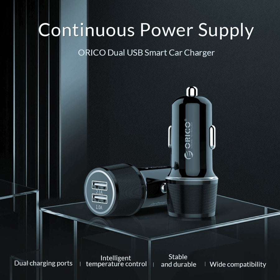 ORICO USB Car Charger For Mobile Phone Tablet GPS 2.1A Fast Charger Car-Charger Dual USB Car Phone Charger Adapter in Car