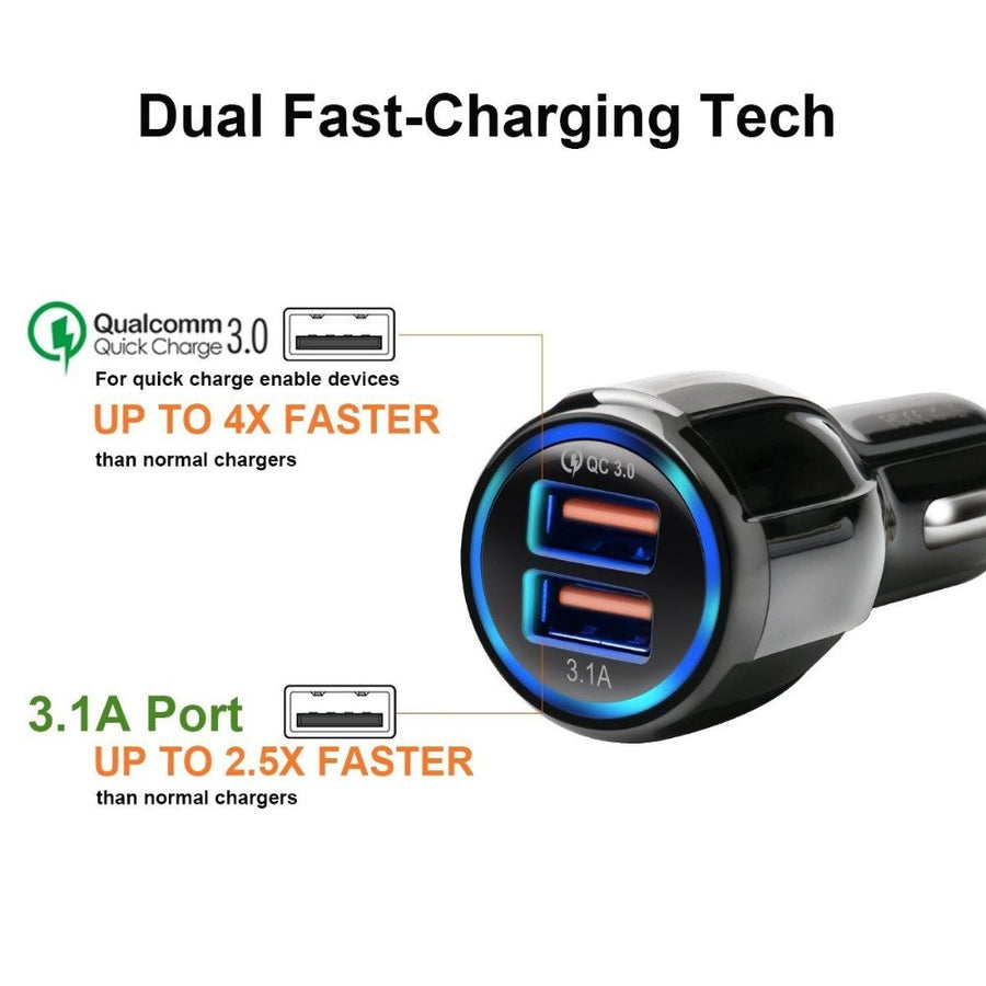 Car USB Charger Shangke Quick Charge 3.0 2.0 Mobile Phone Charger 2 Port USB Fast Car Charger for iPhone Samsung Tablet Car-Char