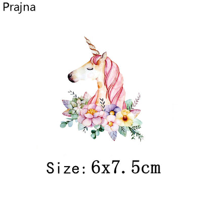 Prajna Kawaii Animals Unicorn Iron on Transfers For Clothing Fabric Baby  Kids Applique Badge Hot Vinyl Heat Transfer Stickers