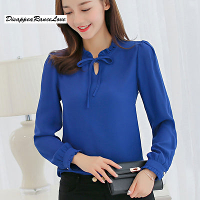 DRL 2018 spring chiffon shirt female Long Sleeve Pure Color Striped Blouses  Casual High Street Woman c800ad7ed33b